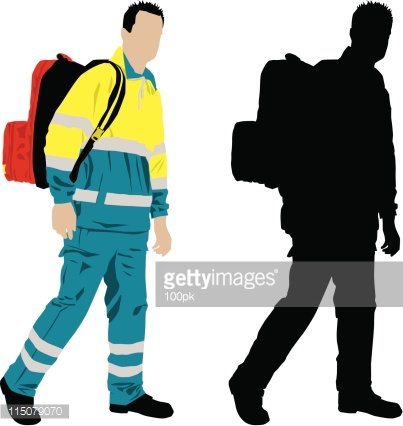 403x426 Paramedic With Backpack Walking To Emergency Premium Clipart