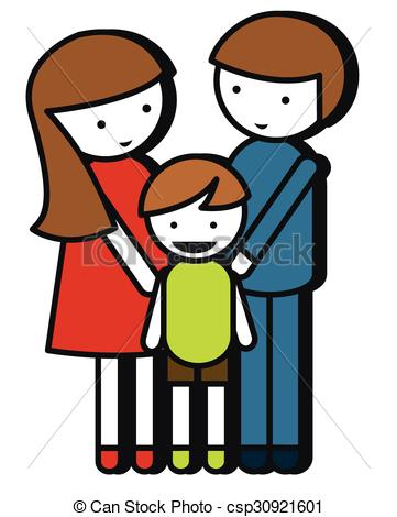 361x470 Simple Family Drawing With Parents And Kid Illustration Vector