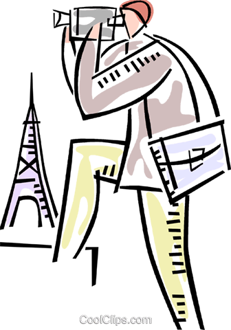 336x480 Man With Video Camera In Paris Royalty Free Vector Clip Art