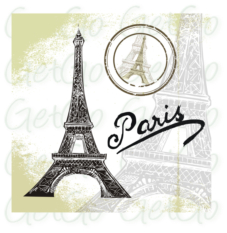 1456x1500 Paris Clipart, Silhouette, Vector, Eiffel Tower, Cards, Crafts