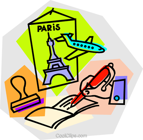 480x472 Paris Vacation With Airline Tickets Royalty Free Vector Clip Art
