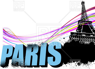 400x288 Word Paris And Eiffel Tower On Grunge Background Royalty Free