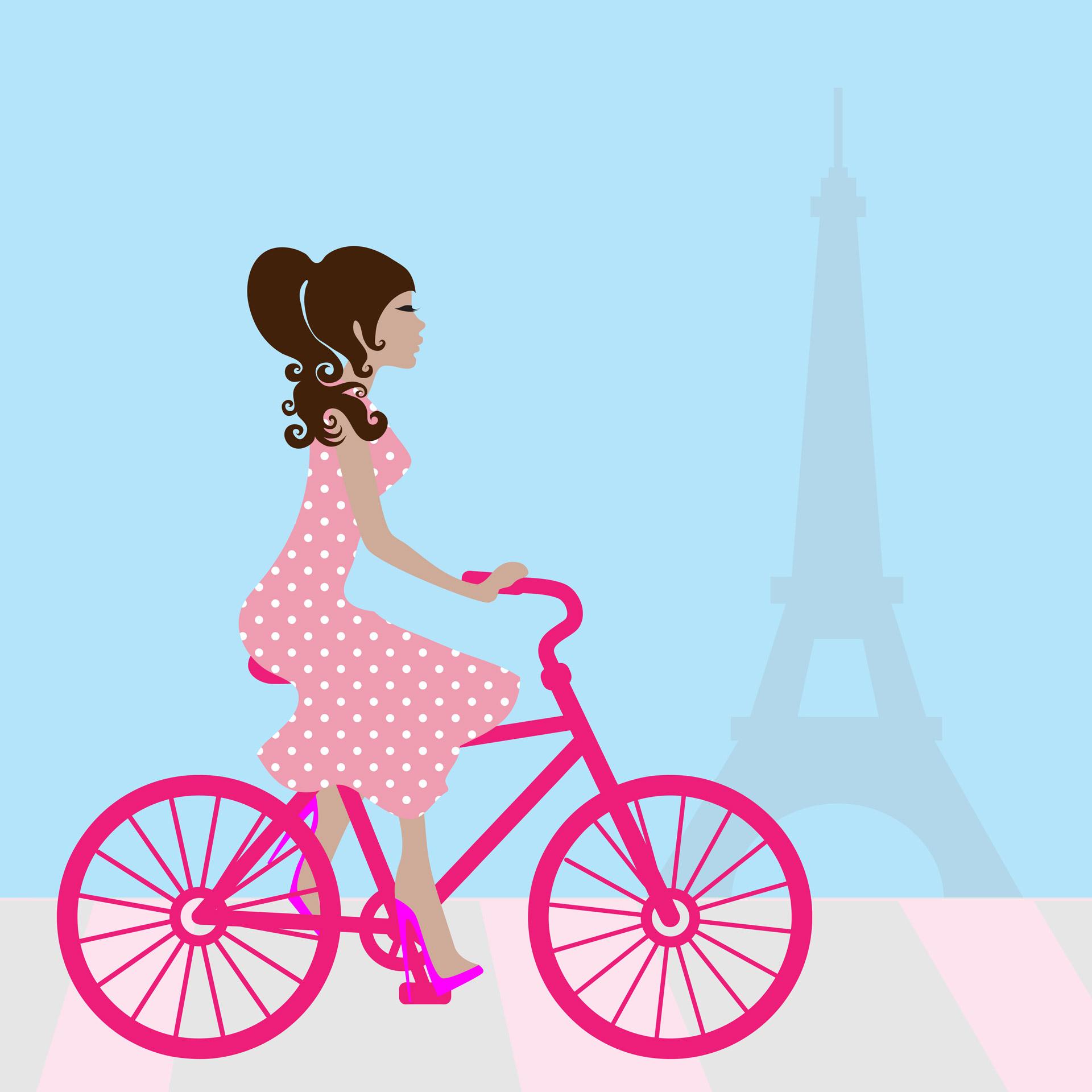 1920x1920 Girl Cycling In Paris Free Stock Photo