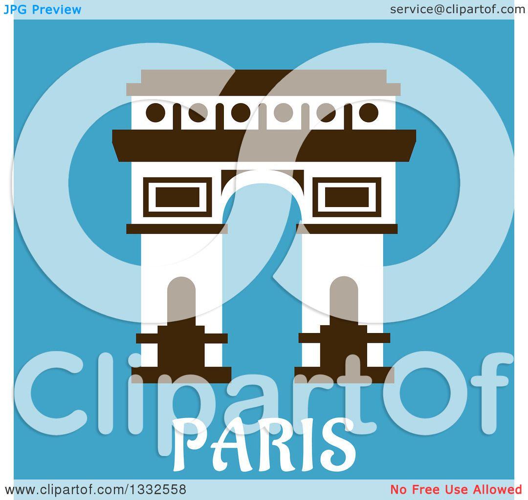 1080x1024 Clipart Of A Flat Design Arc De Triomphe With Paris Text On Blue