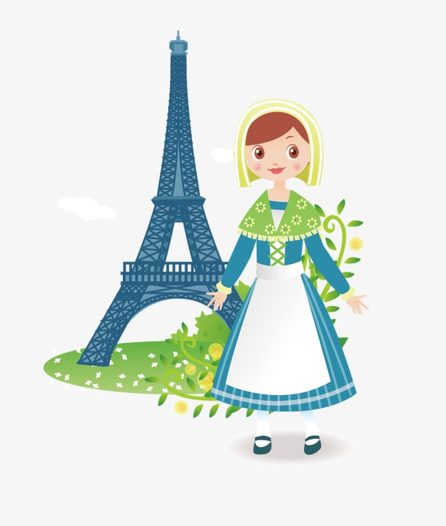 650x767 Vector Cartoon Eiffel Tower And Notre Girl, Eiffel Tower, Paris