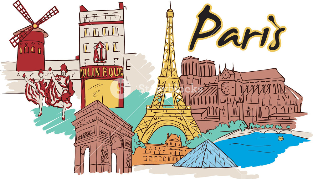 1000x572 Paris Vector Doodle Royalty Free Stock Image