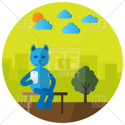 400x400 Cute Cartoon Cat With Smartphone In City Park Sitting On Bench