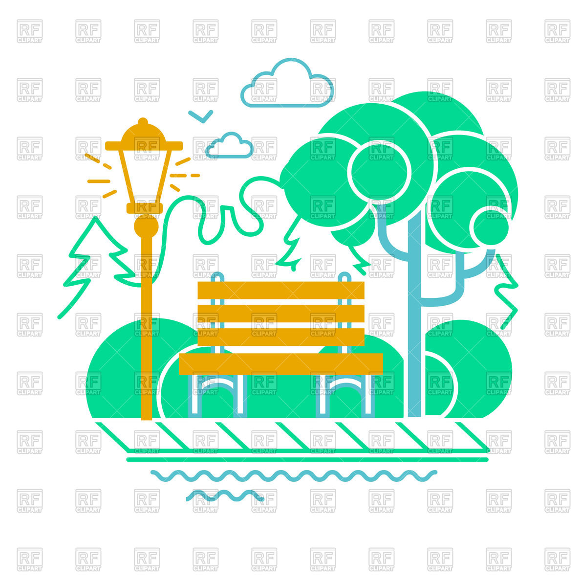1189x1200 Icon Of A Park With Bench, Lantern And Trees Royalty Free Vector