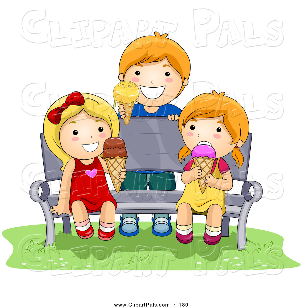 1024x1044 Pal Clipart Of A Boy And Two Girls Eating Ice Cream While Sitting