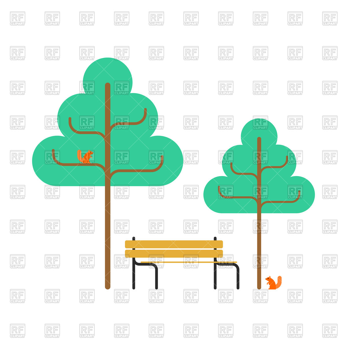 1200x1200 Park Trees, Bench And Squirrel Royalty Free Vector Clip Art Image