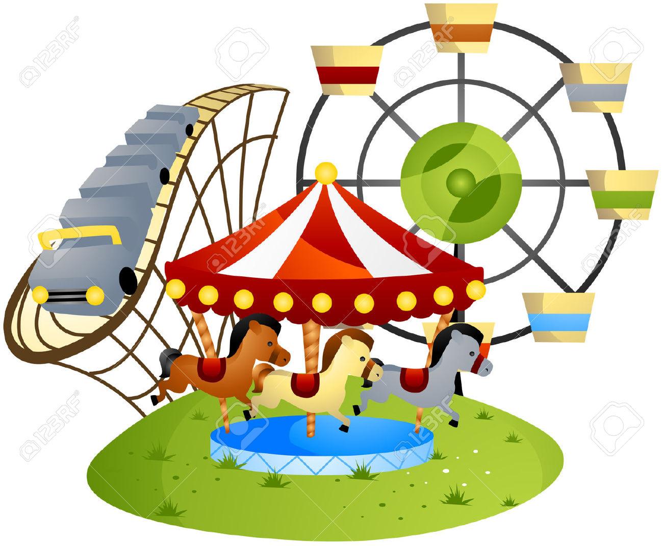 1300x1071 Animal Ride Carousel In An Amusement Park Clipart