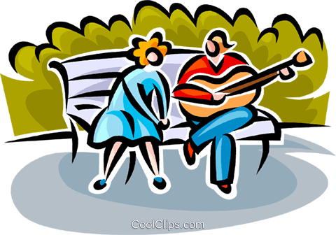 480x336 Couple Sitting On A Park Bench Royalty Free Vector Clip Art
