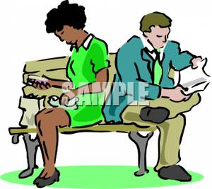 300x267 A Colorful Cartoon Of A Couple Ignoring Each Other On A Park Bench