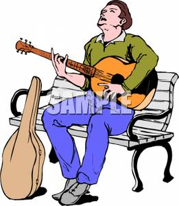 261x300 A Man Sitting On A Park Bench Playing Guitar