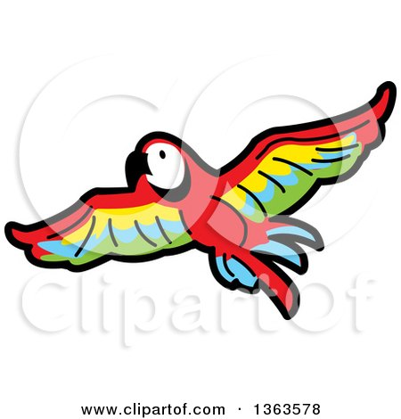 450x470 Clipart Of A Cartoon Flying Scarlet Macaw Parrot In Flight
