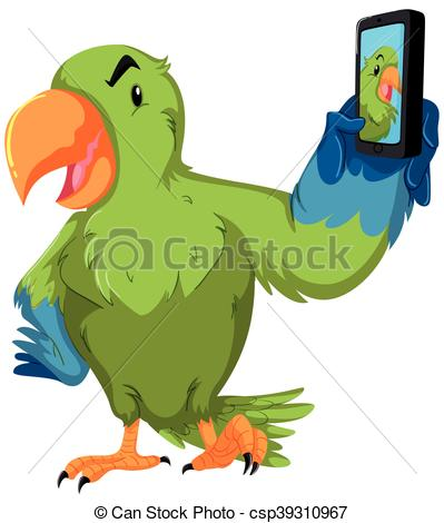 399x470 Green Parrot Taking Selfie With Phone Illustration Clip Art Vector