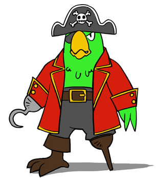 313x347 Pirate Parrot Clipart
