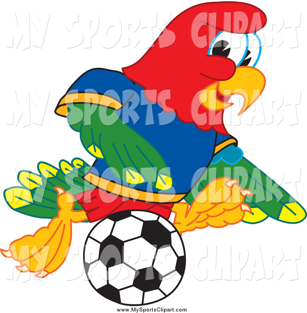 1024x1044 Sports Clip Art Of A Macaw Parrot Mascot Playing Soccer By