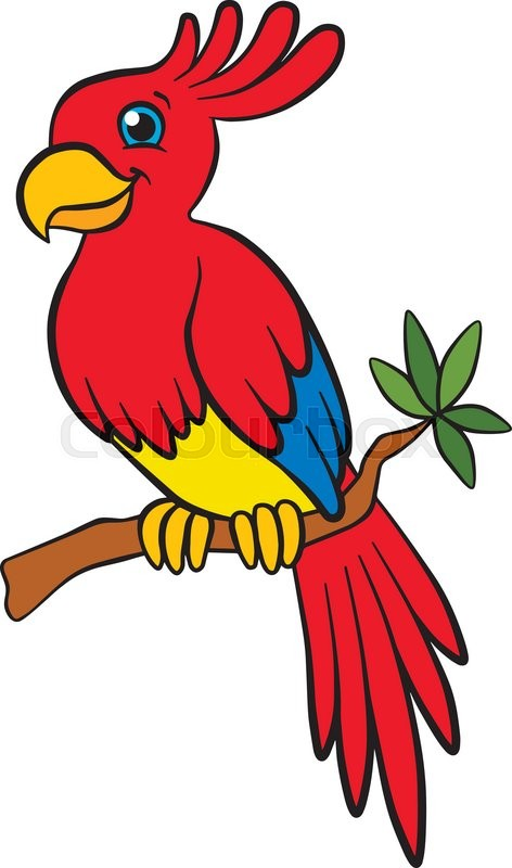 472x800 Cartoon Birds For Kids. Little Cute Parrot Sits On The Tree Branch