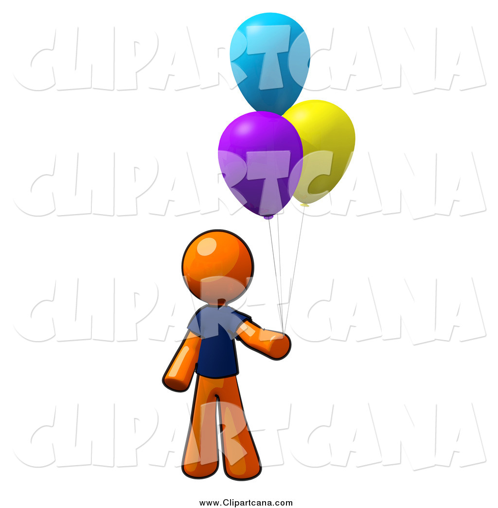 1024x1044 Clip Art Of A Orange Man With Colorful Party Balloons By Leo