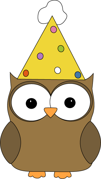 325x573 Owl Wearing Party Hat Clip Art