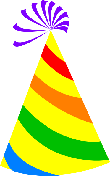 372x592 Rainbow Party Hat Yellow Clip Art