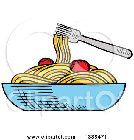 450x470 Clipart Of A Sketched Bowl Of Spaghetti
