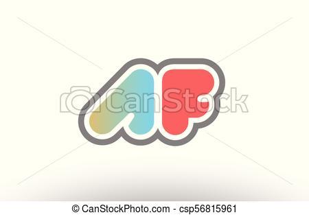 450x313 Orange Pastel Blue Alphabet Letter Af A F Logo Combination Clip