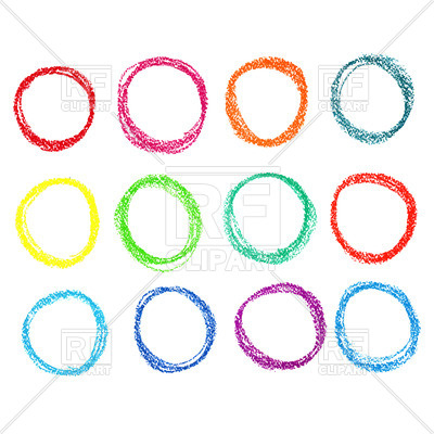 400x400 Set Of Colored Circles Of Pastel Crayon Royalty Free Vector Clip