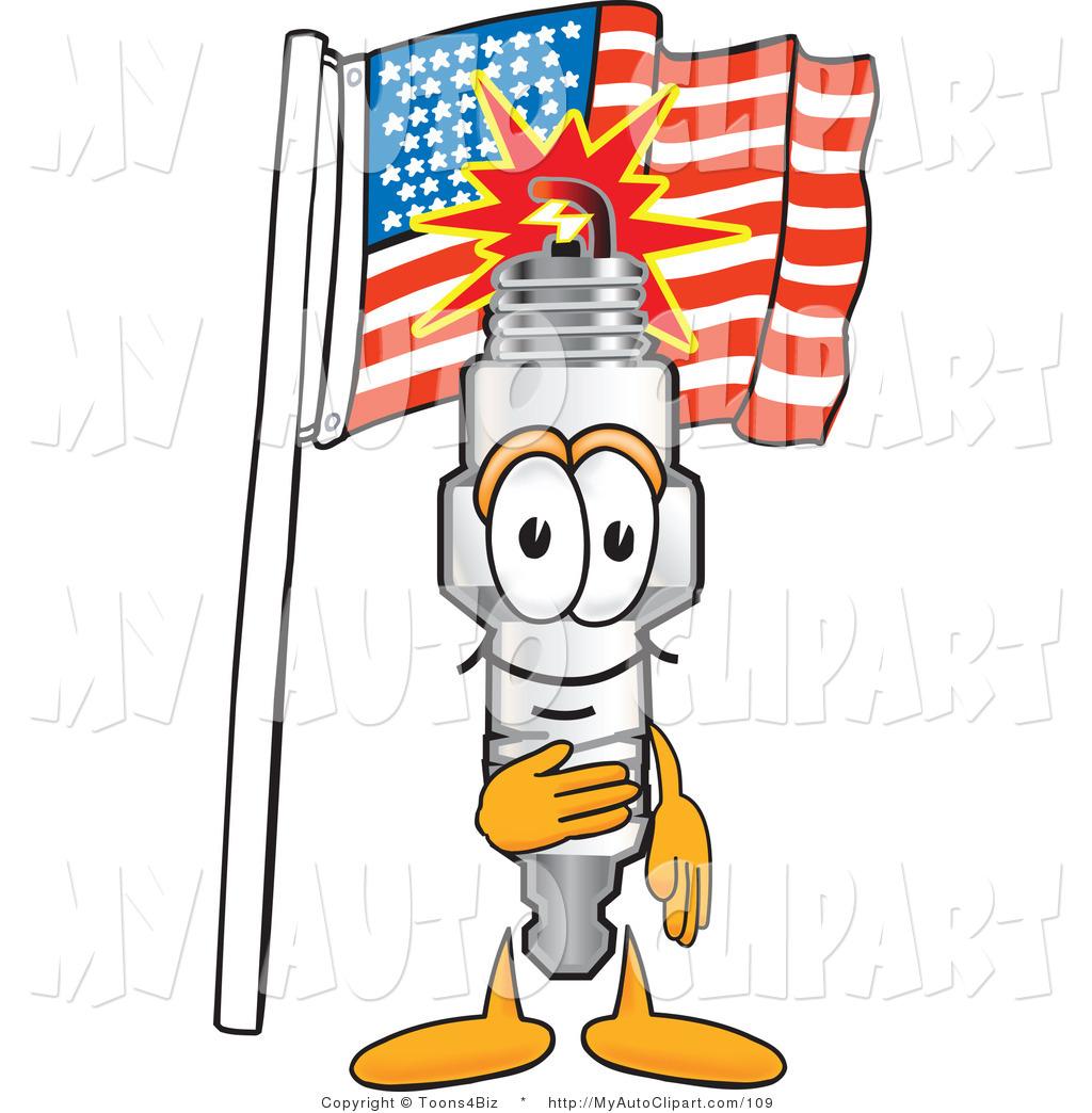 1024x1044 Clip Art Of A Patriotic Spark Plug Mascot Cartoon Character
