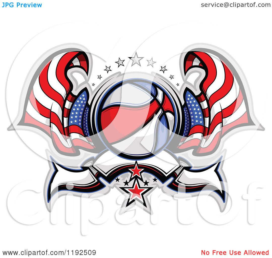 1080x1024 Clipart Of A Patriotic Basketball With Two American Flags Stars