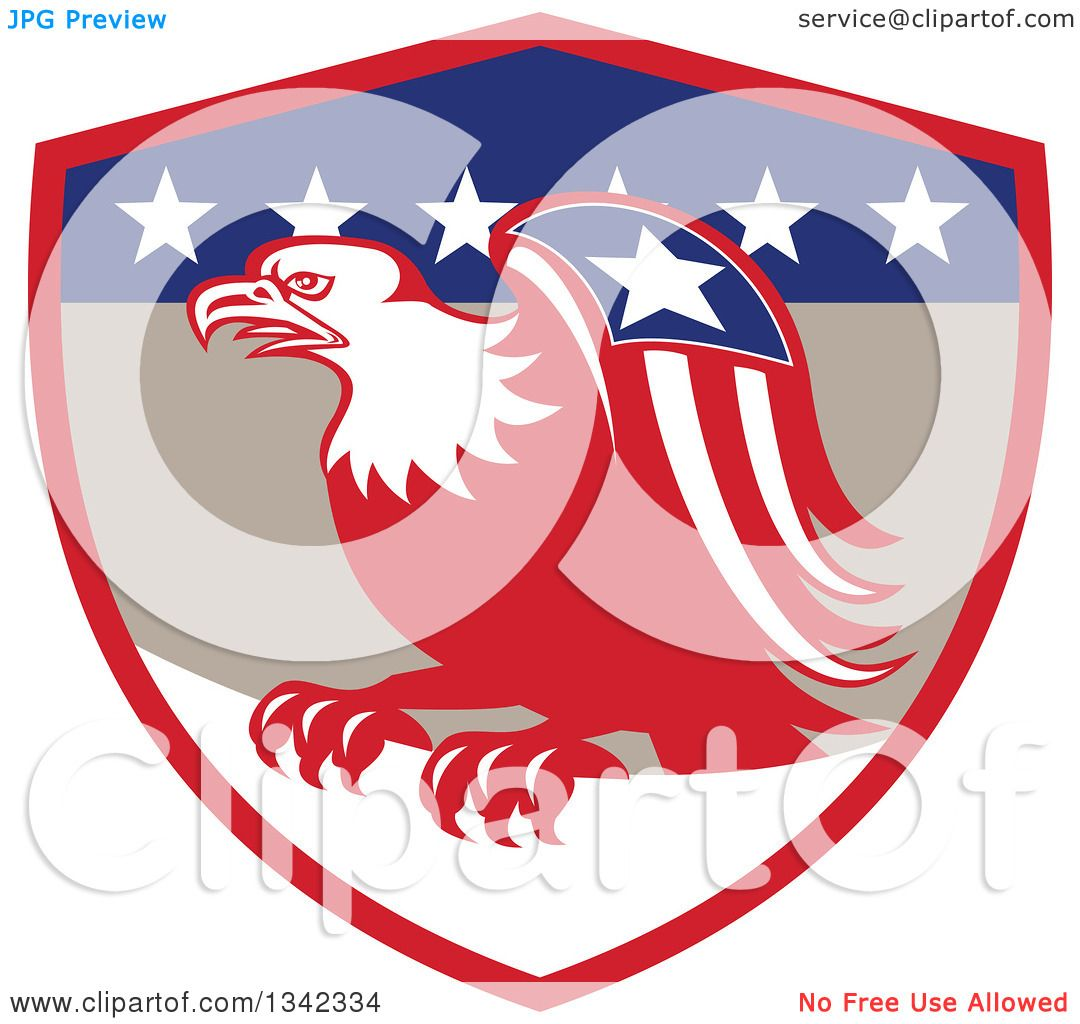 1080x1024 Clipart Of A Retro Cartoon American Bald Eagle With A Patriotic