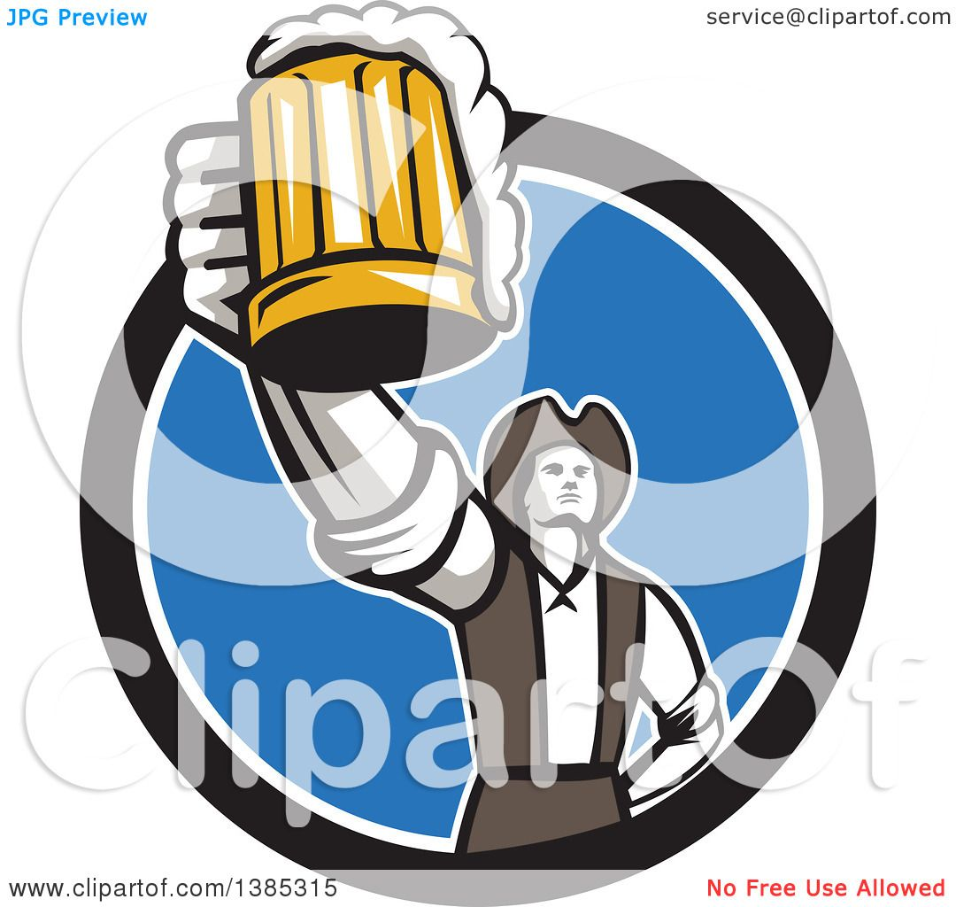 1080x1024 Clipart Of A Retro Male American Patriot Toasting With A Beer Mug