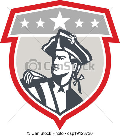 416x470 American Patriot Looking Up Shield Retro. Illustration