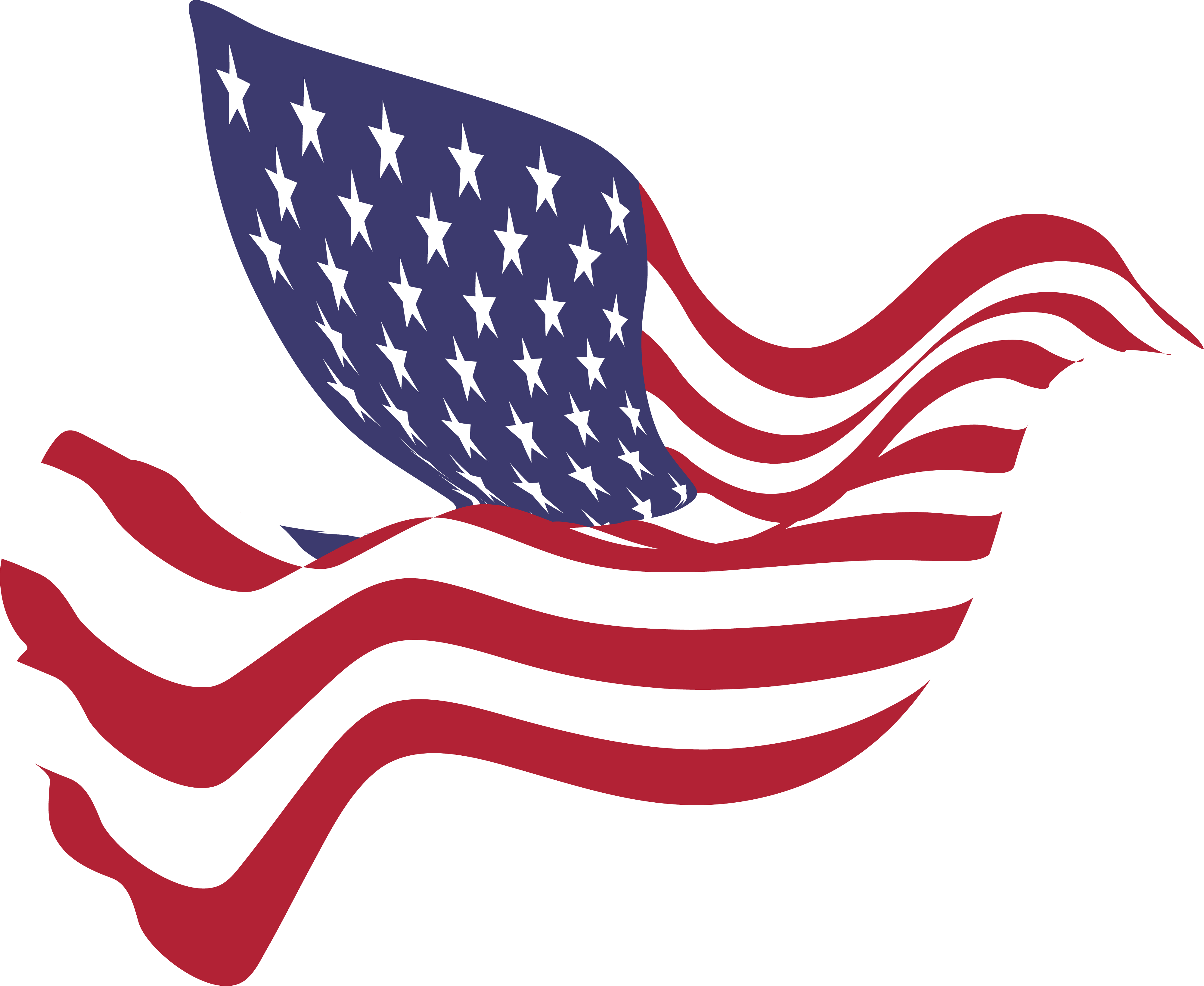 4000x3275 Free Clipart Of A Peace Dove With An American Flag Pattern