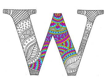 340x270 Zentangle Alphabet Coloring Pages For Adults Letter H Henna