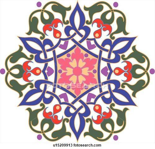 500x479 Green, Blue, Pink, Red And Purple Flower Pattern Arabesque Design