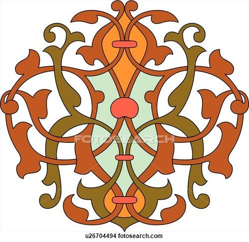 500x486 Red, Green And Orange Leaf Pattern Arabesque Design Clipart
