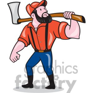 300x300 Paul Bunyan Axe Looking Side Cartoon Clip Art Paul