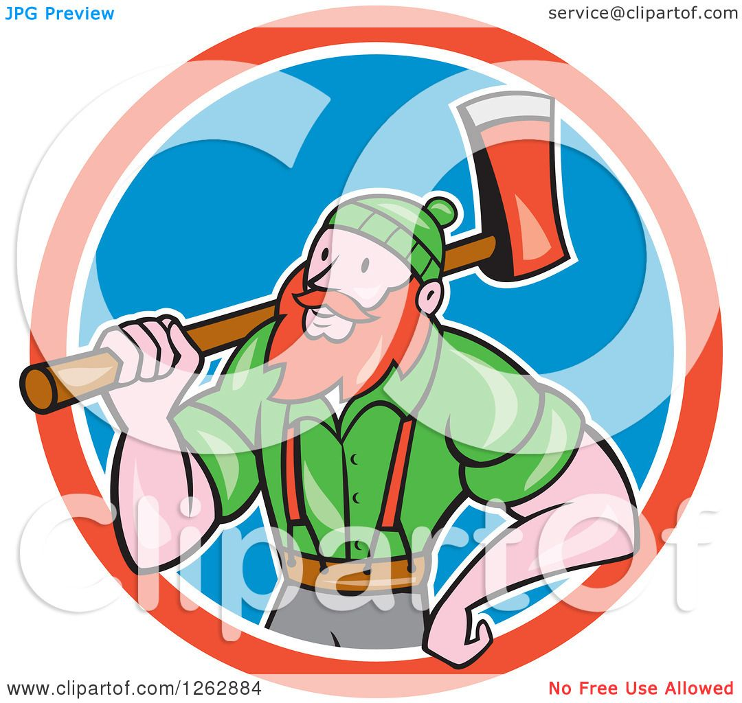 1080x1024 Clipart Of A Cartoon Logger, Paul Bunyan, With An Axe In A Red