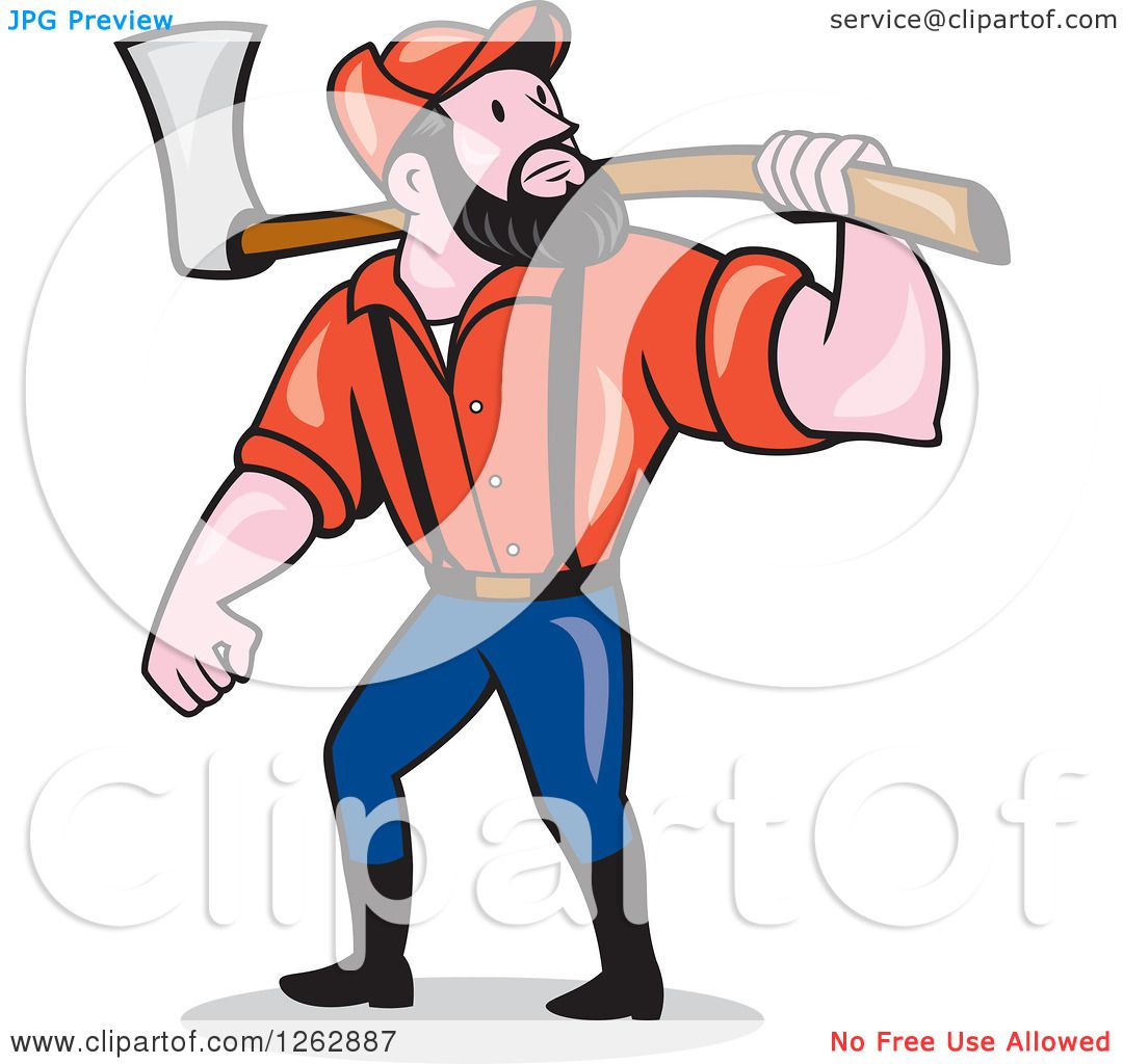 1080x1024 Clipart Of A Cartoon Male Paul Bunyan Lumberjack Carrying An Axe