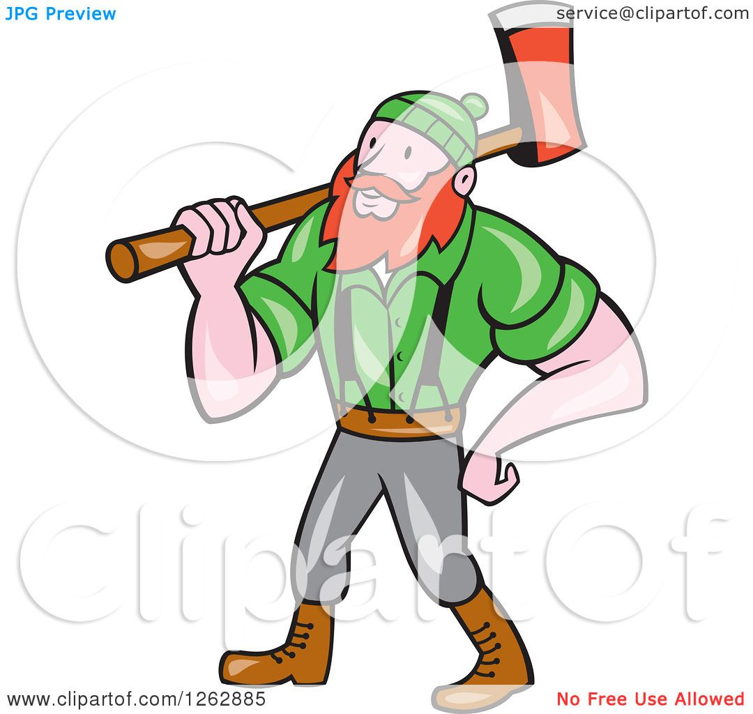 1080x1024 Clipart Of A Cartoon Logger, Paul Bunyan, With An Axe