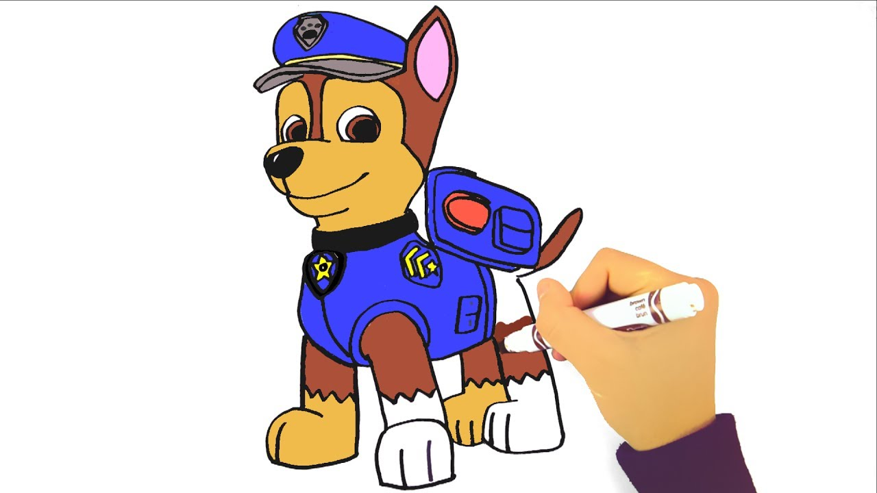 1280x720 How To Draw Paw Patrol Chase Learning Coloring Pages