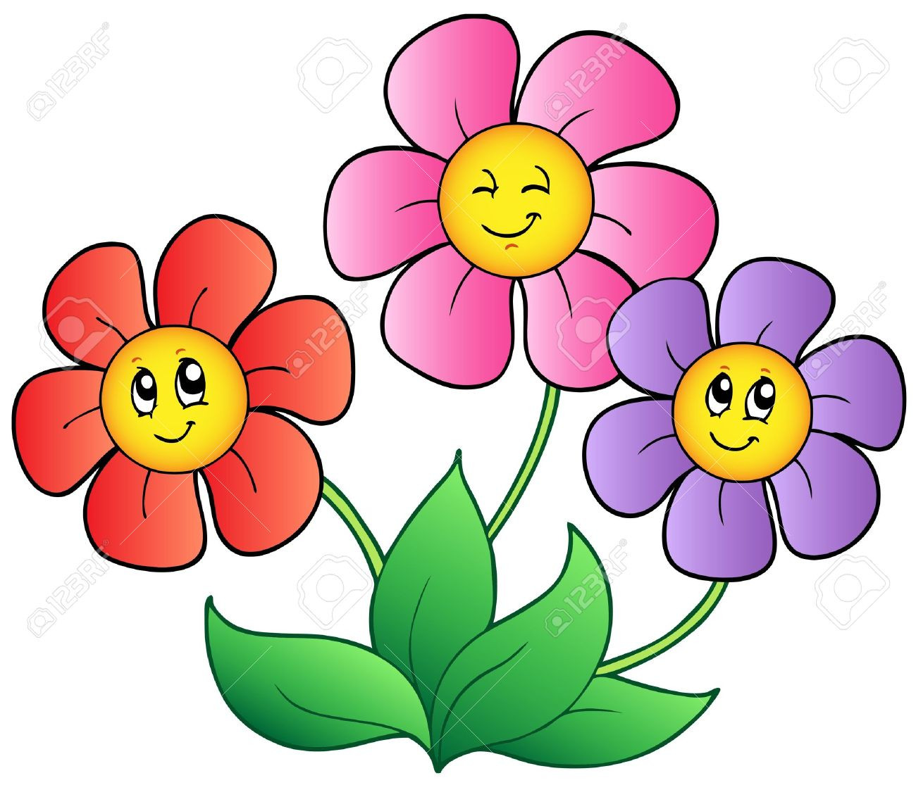 1300x1115 Free Flower Cartoon Images Download Clip Art On Noticeable Image