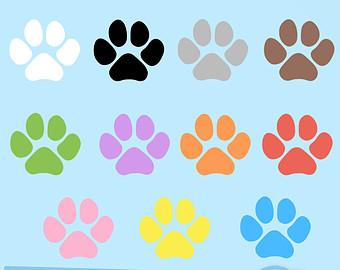 340x270 50 Rainbow Colors Paw Print Cliparts, Pet Clip Art. Dog Cat Paws
