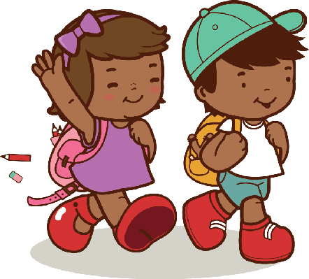 442x399 African American Kids Walk To School Clipart The Arts Image