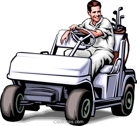 480x440 Golfer In Golf Cart Royalty Free Vector Clip Art Illustration