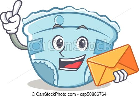 450x316 With Envelope Baby Diaper Character Cartoon Vector Clip Art