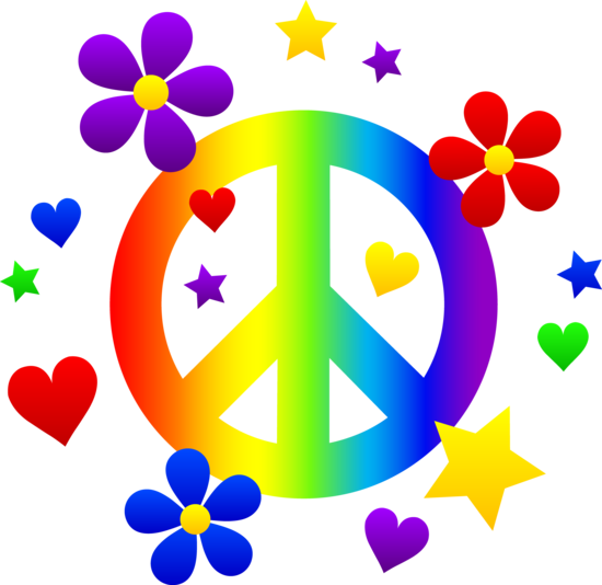 550x534 Free Clip Art Of A Rainbow Peace Sign With Hearts, Stars,