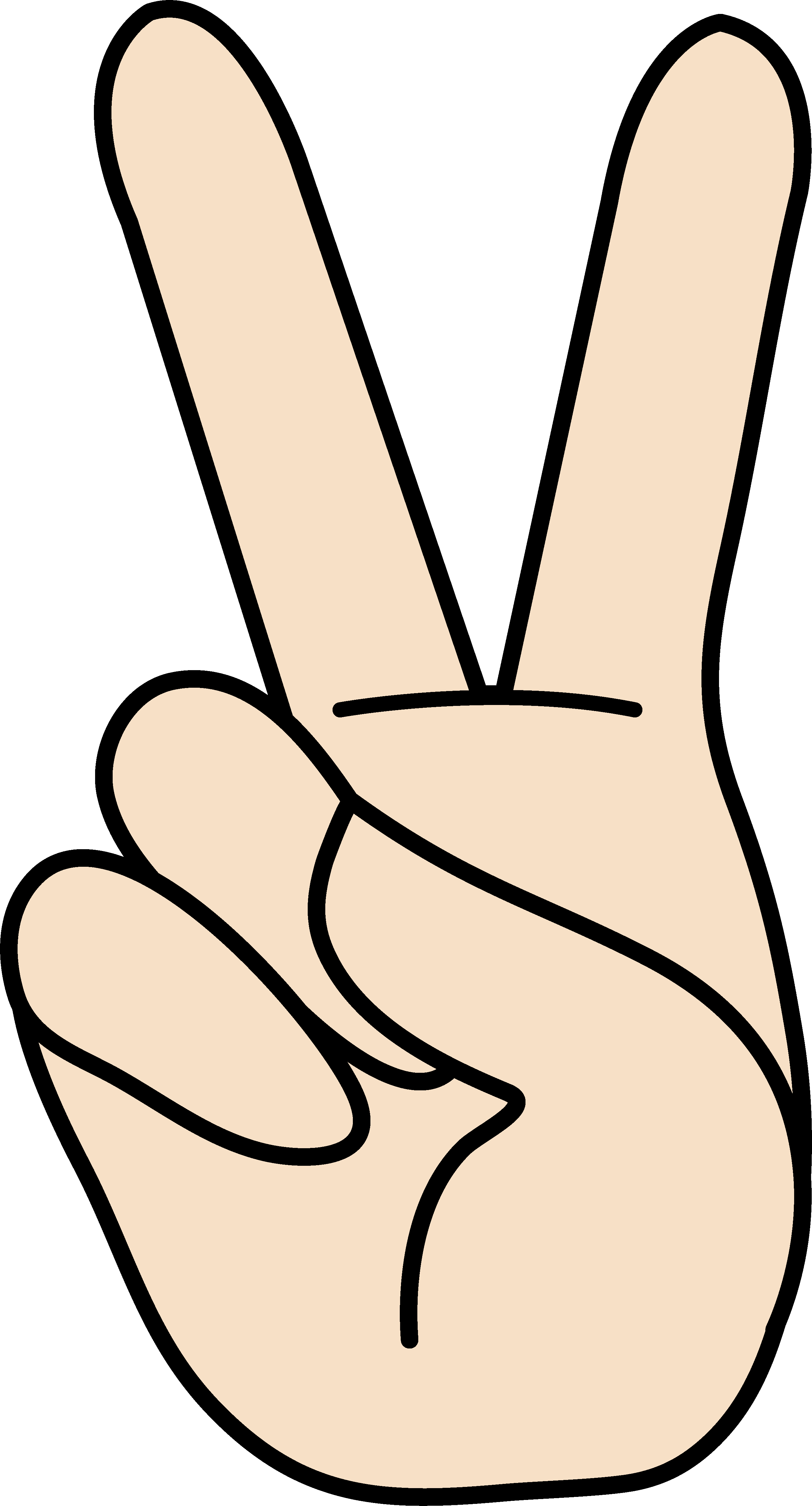 2681x4971 Peace Hand Sign Clipart
